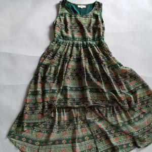 Umgee Green Patterned Hi-Low Dress S
